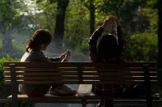 bench people smartphone sun